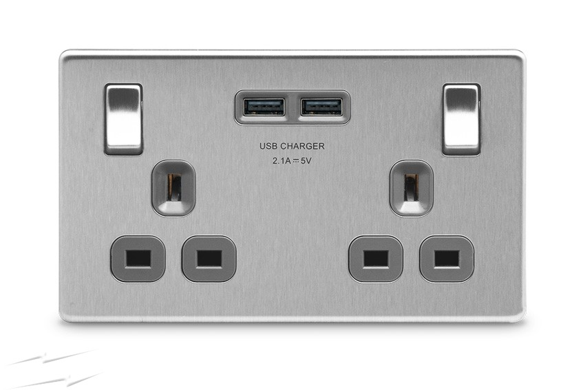 Sockets with USB port